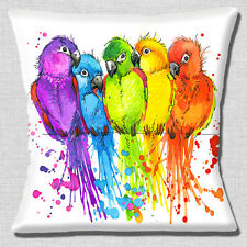 """NEW CUTE CUDDLING LOVEBIRDS BRIGHT COLOURS ON WHITE 16"""" Pillow Cushion Cover"""