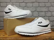 FILA MENS UK 12 EU 47 WHITE LEATHER EURO JOGGERS TRAINERS