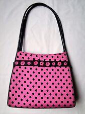 Pink & Black Polkadot Flower Purse Tote Bag Handbag Shoulder Bag Satchel