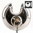 HEAVY DUTY 70mm DISCUS PADLOCK SECURITY SET + Hasp + 2 Keys Round Safety Disc
