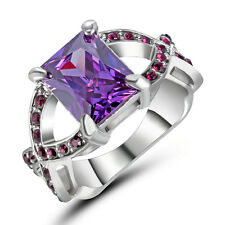 Purple Amethyst Finger Cross CZ Band 10Kt White Gold Filled Wedding Ring Size 6