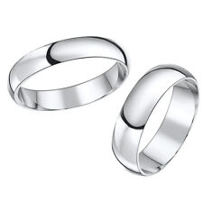 9ct White Gold His & Hers Wedding Ring Band 5mm 6mm 9k