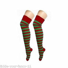 LADIES RED & GREEN STRIPED OVER THE KNEE SOCKS CHRISTMAS SANTA ELF HELPER