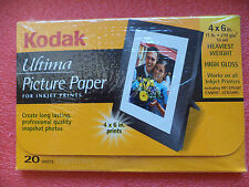 Kodak Ultima Picture Paper Photo 20 Sheets 4x6 High Gloss 71lb Inkjet Printers