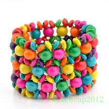 Classic women's multi-colored wooden beads Bracelet Bangle SL315