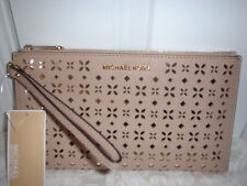 Michael Kors Jet Set Large Floral Leather Zip Clutch Wristlet  Bisque Pale Gold