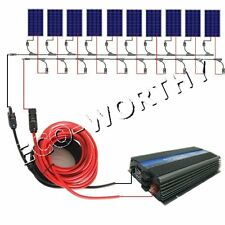 1KW Grid Tie System 10x100W Solar Panel & 12V Inverter For Home Light Fan Power