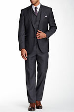 English Laundry Grey Plaid Two Button Peak Lapel 3 Piece Wool Suit 48R, $795 NWT