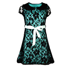 Girls Kids Fully Laced Lined Fancy Party Dress Midi Top With Belt Age 7-13 Years