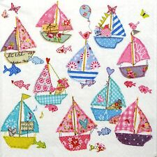 4 Single Party Paper Napkins for Decoupage Decopatch Craft Patchwork Sail Boats