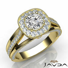 Halo Pave Set Round Cut Diamond Engagement Ring GIA F VS1 18k Yellow Gold 1.4Ct