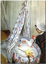 CLAUDE MONET ~ Baby in Cradle ~ *FRAMED* CANVAS ART Poster ~ 20x16""
