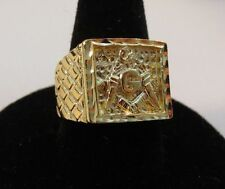 MENS 14KT GOLD EP MASONIC FREEMASON RING SIZE 12