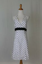 Vintage Retro Navy & White Cotton Polka Dot Halter Dress Sundress 8 M