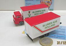 """Wiking 426:  Magirus  Koffer Lastzug mit Tandemanhänger """"Blumen aus Holland"""""""