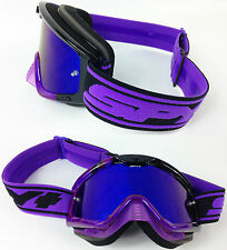 SPY OPTICS WHIP MOTOCROSS MX GOGGLES BLACK SUNDAY PURPLE with BLUE MIRROR LENS