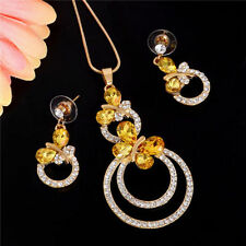 New Austrian Crystal Yellow Gold Citrine Butterfly Necklace Earrings Jewelry Set