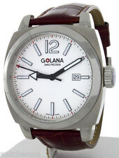 Golana Men's Aero Pro 100 Quartz Swiss Brown Leather Strap Watch AE100-4