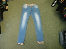 "Newplay Skinny Turn Ups Jeans Waist 30"" Leg 31"" Faded Medium Blue Ladies Jeans"