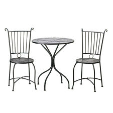 3 Piece Patio Bistro Set Table And 2 Chairs Black Metal New