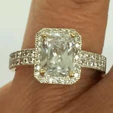 14k real Yellow Gold 2 Carat Halo Emerald Cut Engagement Wedding  Ring S 6 7 8