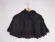 Antique Victorian Childs Black Beaded Mourning Cape Capelet red/purple lining