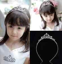 SILVER Cute Rhinestone Princess Girls Crystal Wedding Crown Headband Tiara HS
