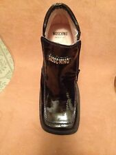 Authentic Moschino Patent Leather Anckle Boots sSize 6/6'5 Nwt made in Italy