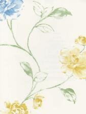 Wallpaper Designer Yellow Blue and Green Floral Vine on White
