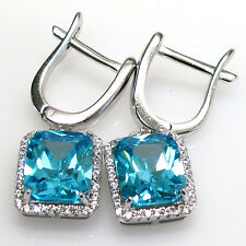 ELEGANT 6 CT AQUAMARINE 925 STERLING SILVER FRENCH BACK EARRINGS