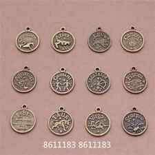 12 Constellations Tag Pendant Charms Wholesale Antique Bronze 12pc   GP790