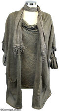 Made in Italy - Ligt Brown Devore Top with Matching Jacket & Scarf (3 item)