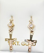 Crucifix Cross Dangle Earrings 14k Gold with Cubic Zirconia - Hook Wire