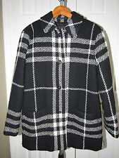 Burberry London Black Off White Plaid Wool Jacket Coat size 10 womens