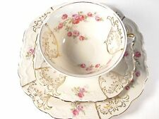 VINTAGE SCHWARZENHAMMER TEACUP SAUCER TRIO BAVARIA GERMANY WITH ROSES