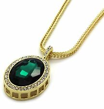 "Mens 14k Gold Plated Iced Out Green Cz Oval Pendant Hip-Hop 30"" Franco Chain"