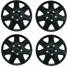 "Tempest Black 15"" Car Wheel Trims Hub Caps Plastic Covers Universal (4Pcs)"