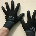 12 PAIRS OF BLACK PREMIUM NEW PU COATED WORK BUILDERS MECHANIC GLOVES