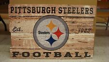 "PITTSBURGH STEELERS EST 1933 WOOD FENCE SIGN 19""X30'' BRAND NEW WINCRAFT"