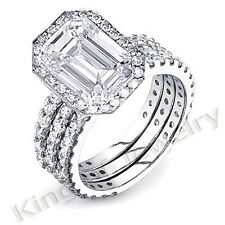 4.30 Ct. Emerald Cut Diamond Engagement Bridal Set