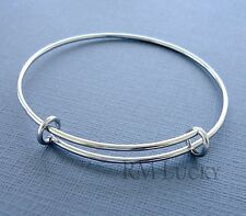 Expandable wire bangle charm bracelet Stainless Steel plane Adjustable  20cm b13