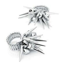 Silver Spiked Ring Stretchy Band