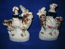 ANTIQUE 19th STAFFORDSHIRE POTTERY Pair  Royal Children On Goats