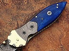 Damascus Steel Pocket Knife Dark Blue color Bone handle AT-1508