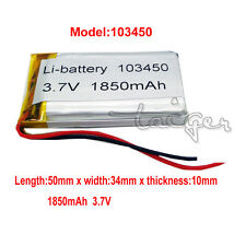 3.7V Li-Polymer Rechargeable Battery 103450 1850mAh with PCM for PSP GPS Reader