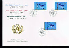2001 Large Combo UN FDC - All 3 Offices on One Cover - Nobel Peace Prize