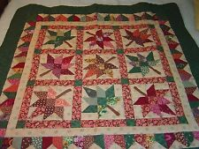 """AMISH GREEN,BROWN """"AUTUMN LEAF"""" WALLHANGING QUILT 45""""- 45"""""""