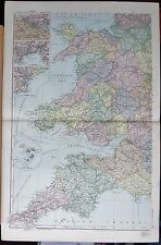 1896 LARGE VICTORIAN MAP -ENGLAND SOUTH WEST & WALES INSET SCILLY SWANSEA CARDIF
