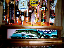 Lighted FISHERMANS PUB 18 BEER Tap handle display FISHERMAN BAR SIGN