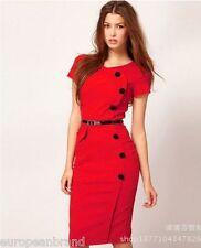 uk 6-8 Fashion Women Pencil Dress Business Work Slim Bodycon Dress Size pinky r
